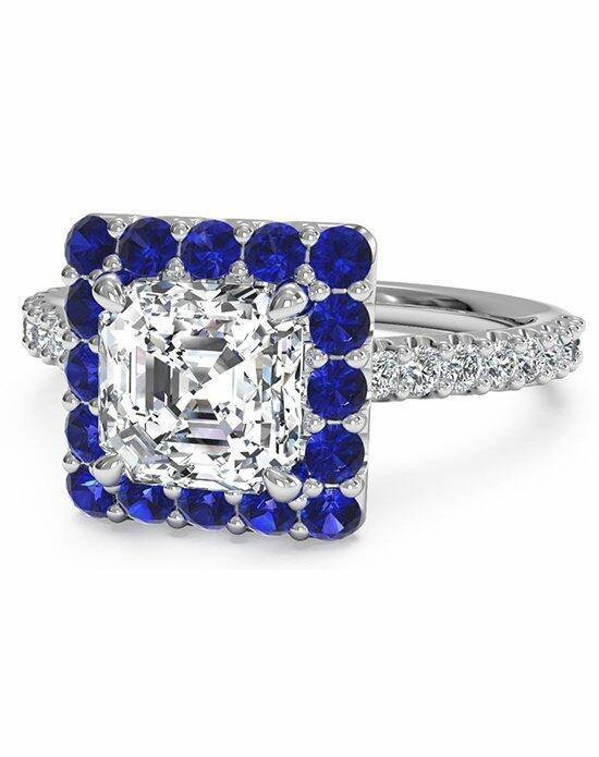 Ritani Asscher Cut French-Set Sapphire Halo Diamond Band Engagement Ring in Platinum (0.24 CTW) Engagement Ring photo
