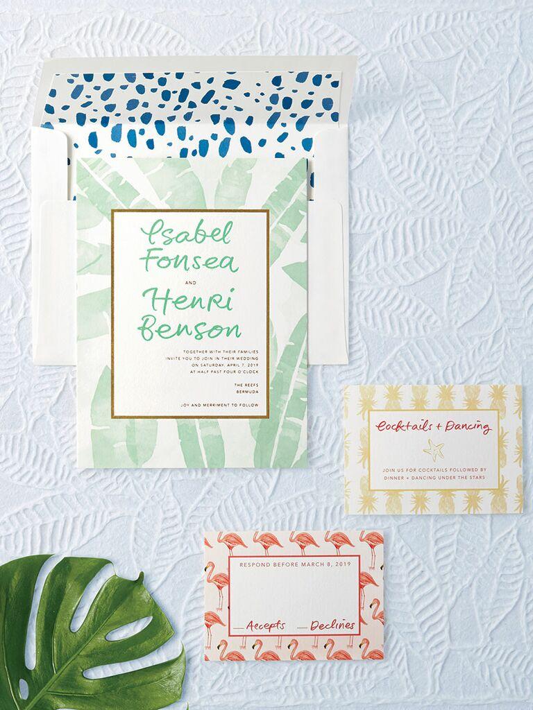 Bella Figura tropical themed wedding stationery