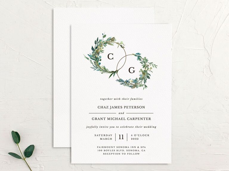 Wreath and greenery initials affordable wedding invitation