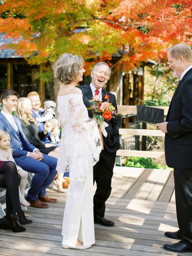 Jo Carol and Mark tied the knot on a crisp fall day with an intimate vow exchange in the Japanese Gardens at the Fort Worth Botanic Garden before head