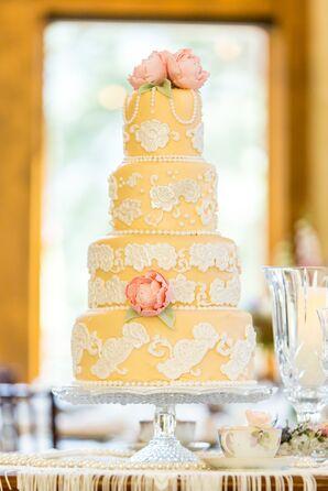 Pale Yellow, White Lace-Inspired Fondant-Detailed Wedding Cake