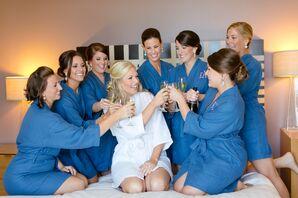 Matching Monogrammed Blue Bridesmaid Robes