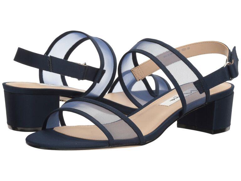 Blue mesh sandals for beach wedding