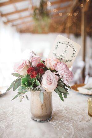 Blush Dahlia and Rose Centerpiece in Vintage Vase