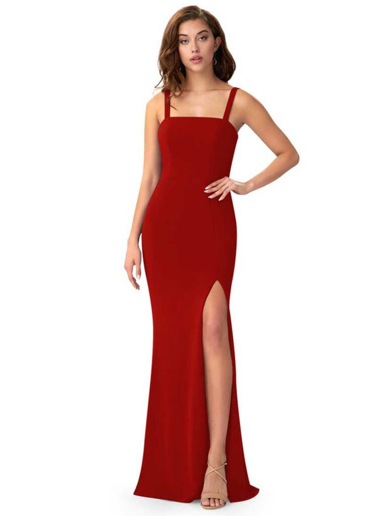 Red column dress with square neckline