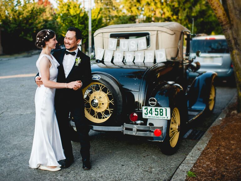 Couple in front of the getaway car