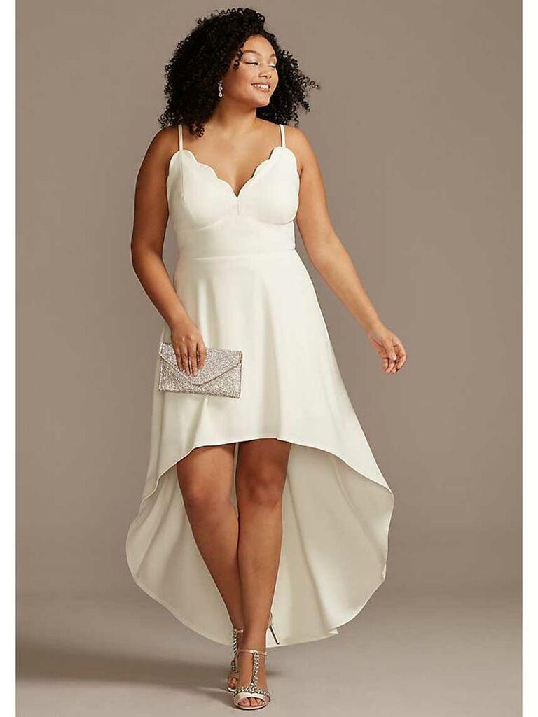 Simple beach wedding dress with high-low hemline and scallop neckline