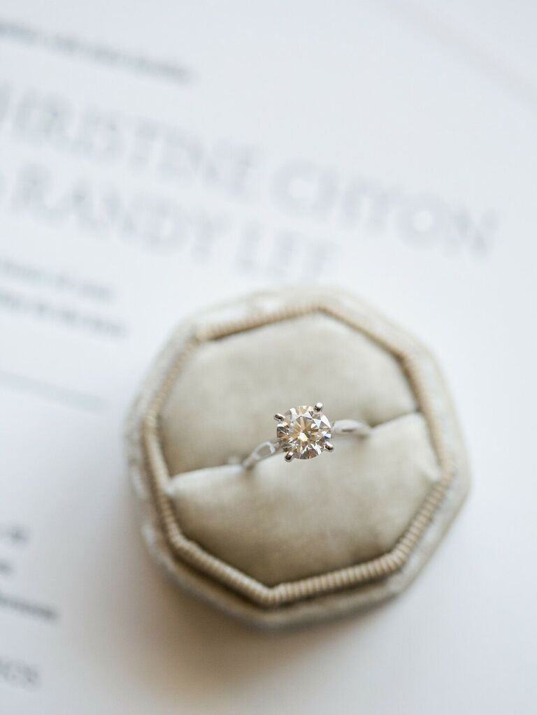 Simple diamond engagement ring in box
