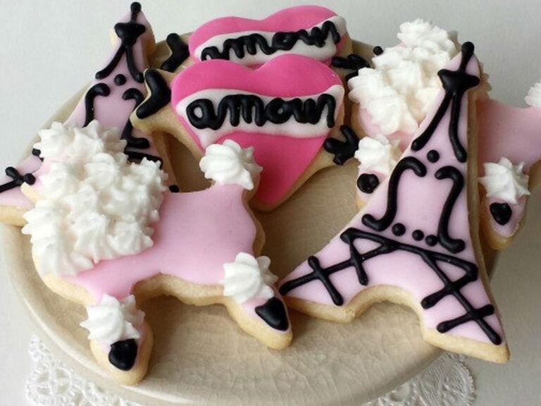 etsy mini paris themed cookies for paris themed bridal shower