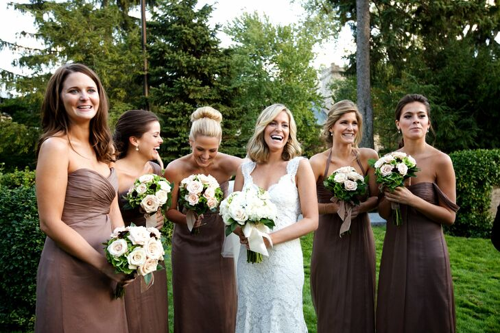 Alex's bridesmaids wore different styles of long silk chiffon Amsale gowns in the same truffle color.