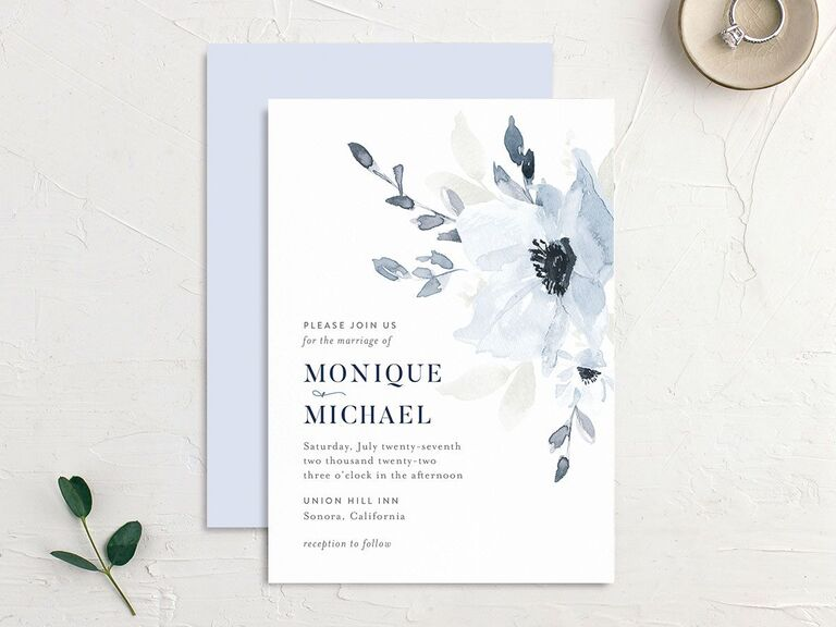 Wintery blue floral wedding invitation affordable