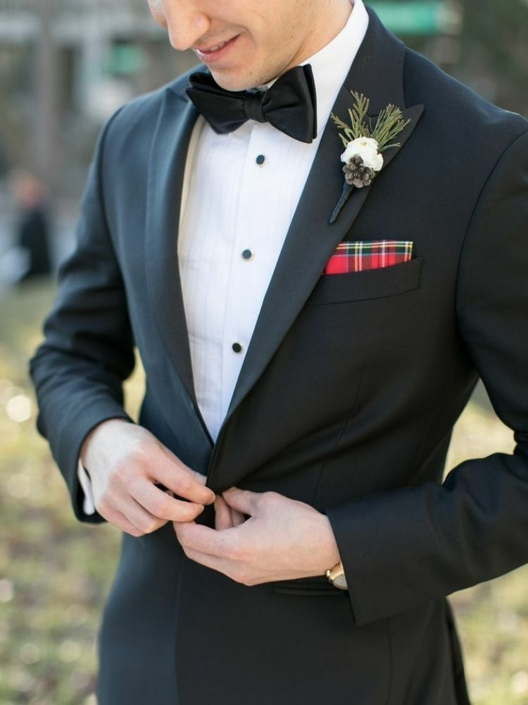 Tuxedo with plaid pocket square