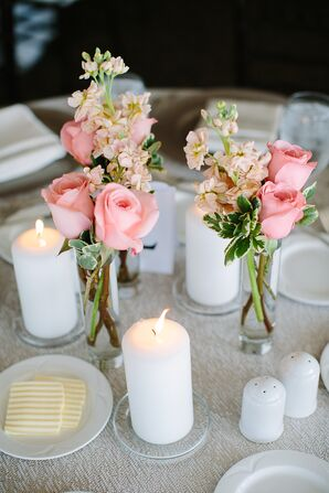 Coral Garden Rose and Candle Table Setting