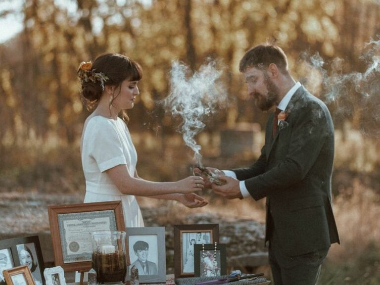 smudging at Native American wedding ceremony