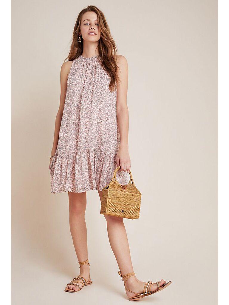 Neutral pink tunic dress with shirred ruffle hemline