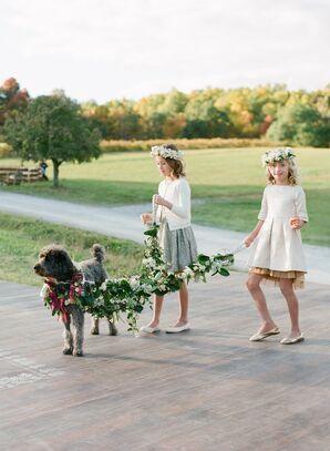 Wedding Dog with Green Garland