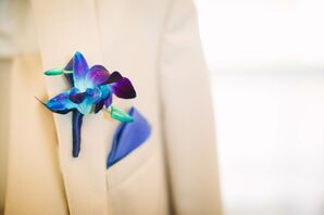 Blue and Purple Iris Boutonniere