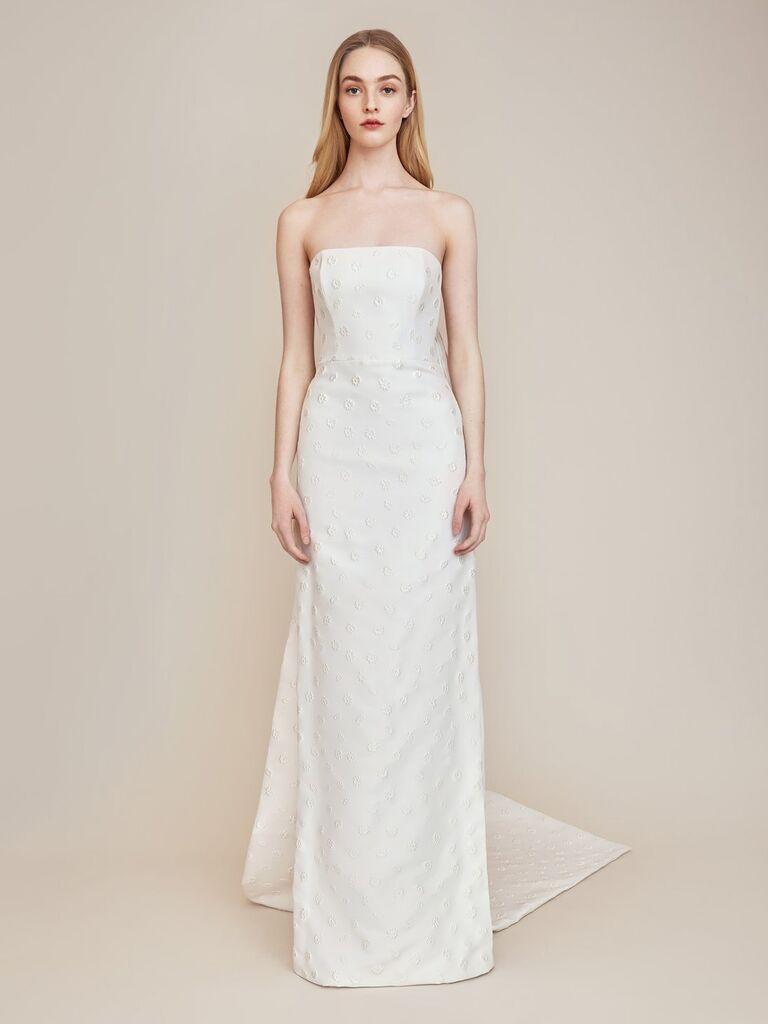 Váy cưới quây màu trắng hoa hồng lela với trang trí hoa và đoàn tàu có thể tháo rời  váy cưới đơn giản đẹp