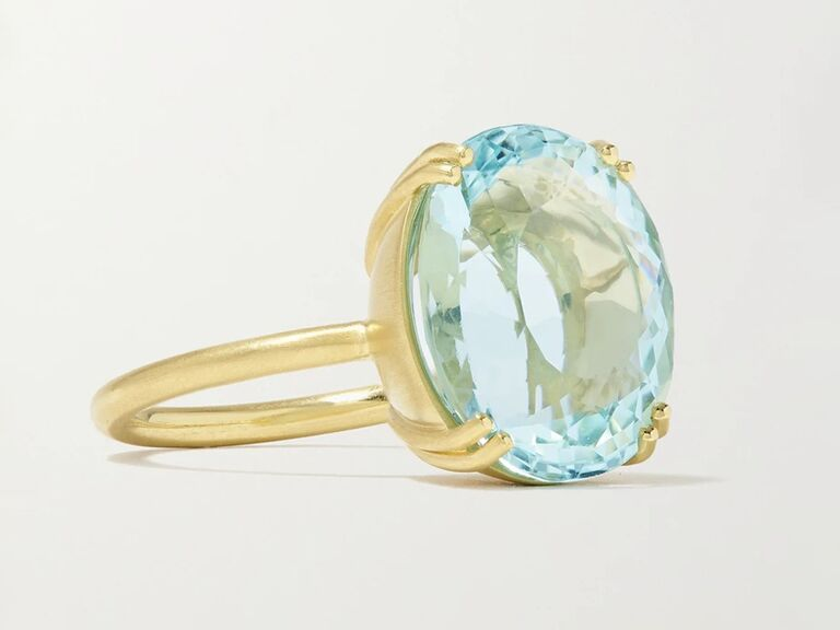 net a porter round aquamarine engagement ring with gold band