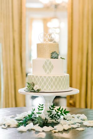 Green-and-Gold Cake for Wedding at The Lace House in Columbia, South Carolina