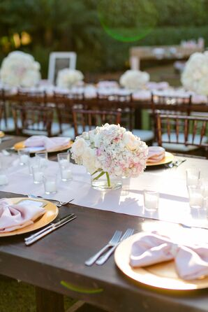 Low Hydrangea and Rose Centerpieces