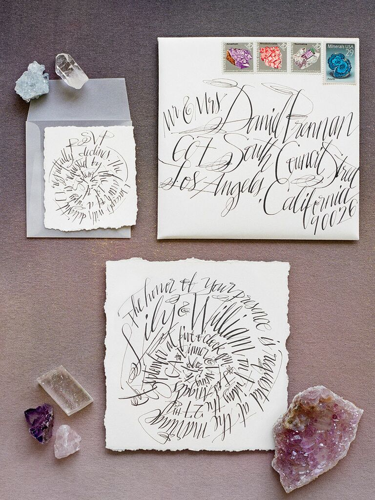 Geode themed wedding invitation with calligraphy by Emily J. Snyder