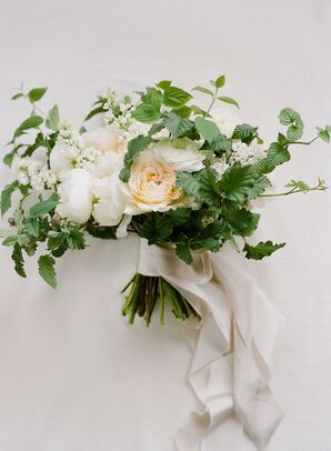 Neutral-Colored Flower Bouquet With Leaves