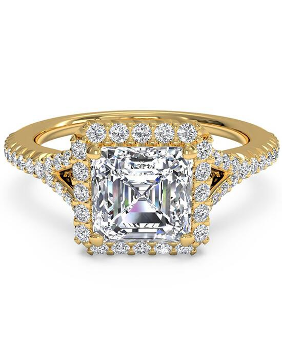 Ritani French-Set Halo Diamond 'V' Band Engagement Ring - in 18kt Yellow Gold (0.23 CTW) for a Asscher Center Stone Engagement Ring photo