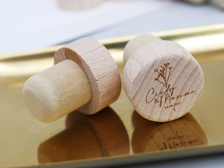 Custom wine bottle stoppers with couple's names