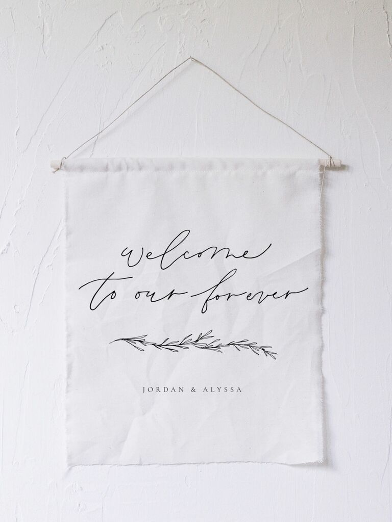 Tapestry calligraphy wedding welcome sign