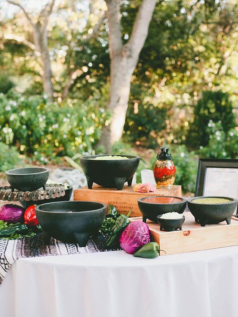 Salsa and guacamole idea for wedding reception food