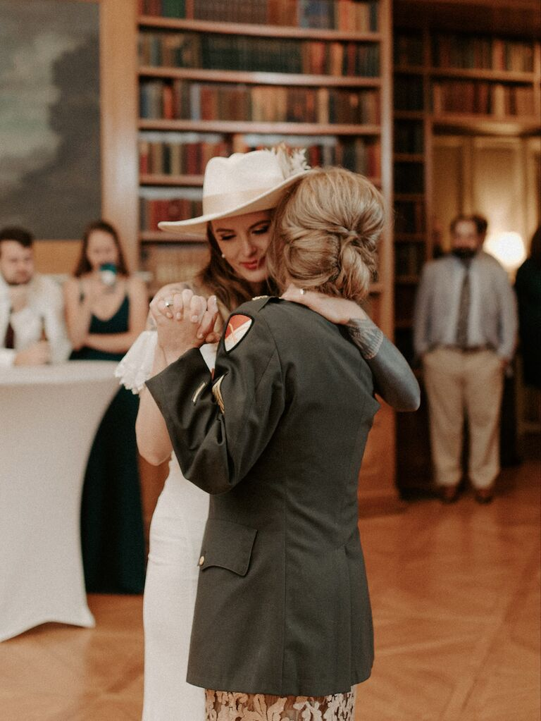 how to honor loved one at wedding mother dancing with bride with late father's jacket on