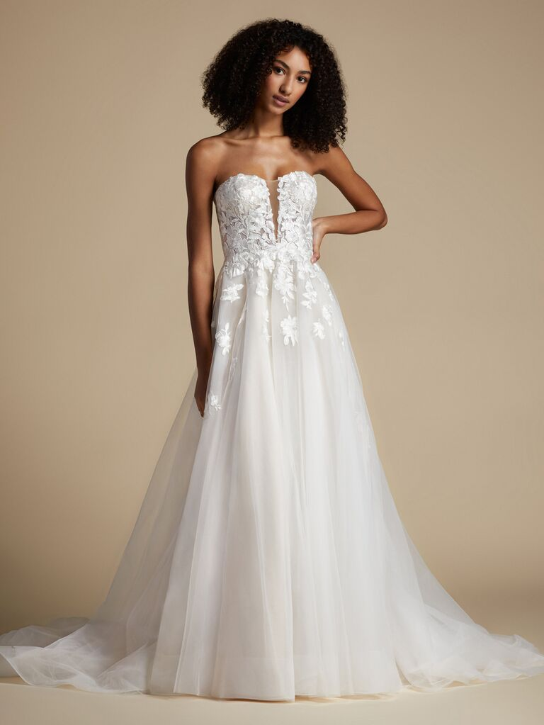 jlm couture strapless white a line wedding dress with lace sweetheart neckline with deep v and lace and tulle flowy skirt