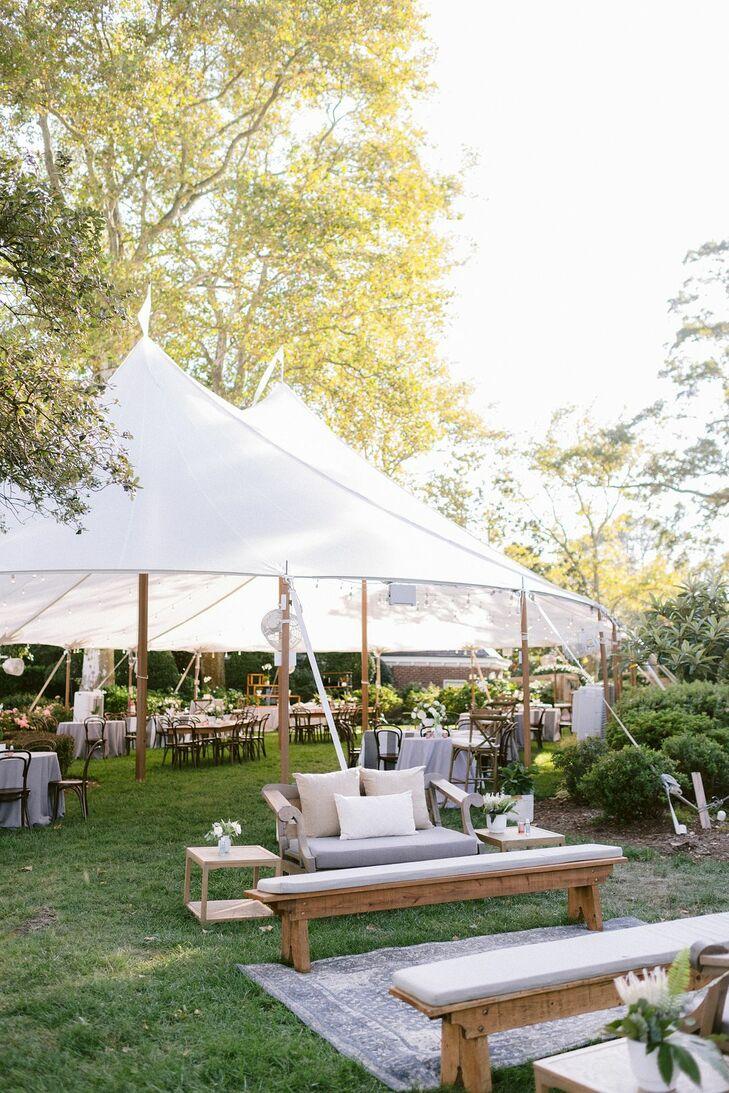 Sailcloth Tent for Backyard Wedding in Virginia