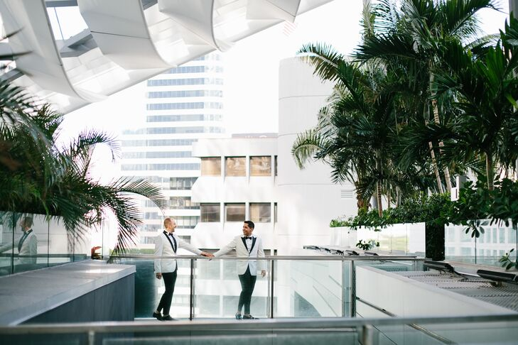 """PatrickGevas and Jose Vega's modern, luxurious wedding took place at The East Miami Hotel. """"We've always felt nontraditional, so we set out to create"""