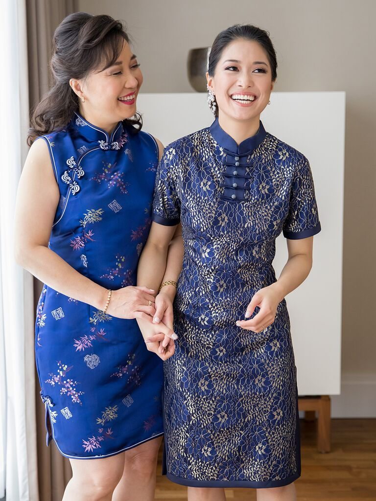bride and mom in blue