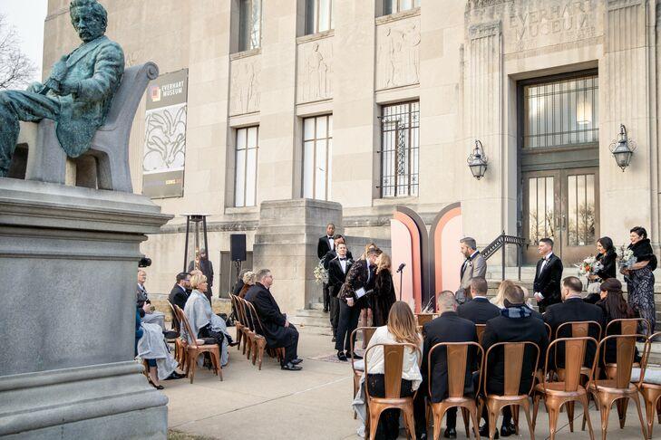 Wedding Ceremony in Front of the Everhart Museum in Scranton, Pennsylvania
