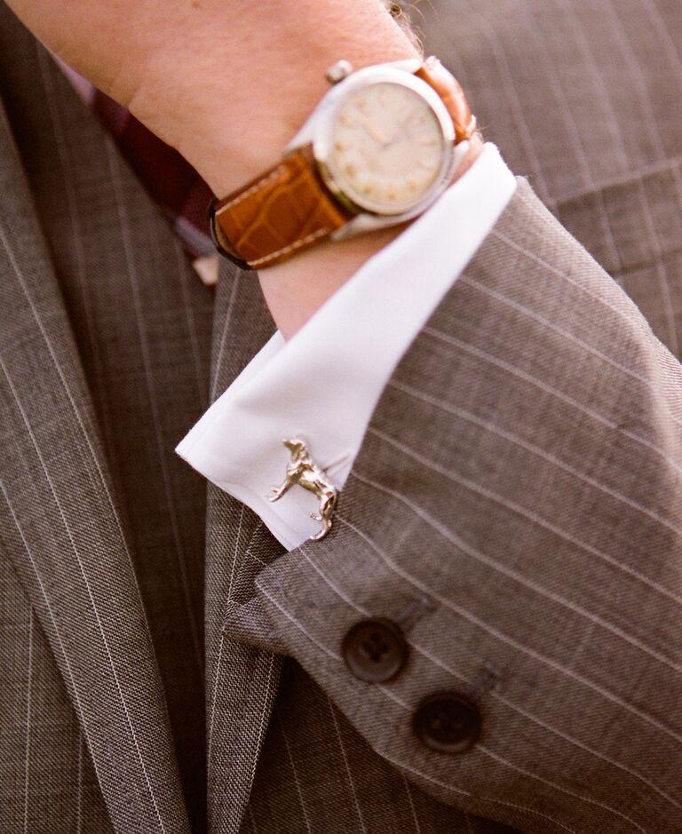 Silver dog groomsmen cufflinks