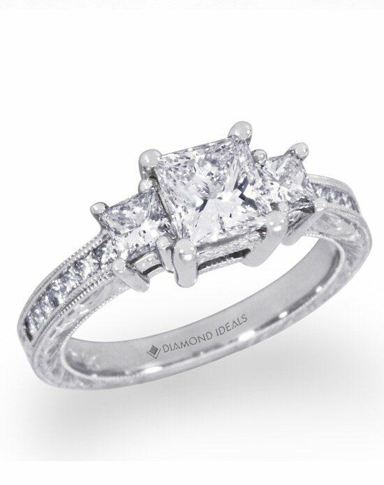 Diamond Ideals Engraved Three Princess-Cut Engagement Ring-CUSTB0118 Engagement Ring photo