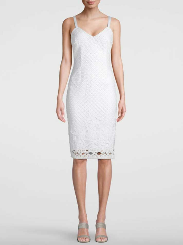Simple midi lace wedding dress
