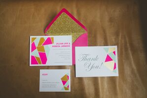 Geometric Pink and Metallic Gold Invitations