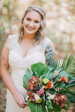 Tropical Bouquet with Orchids, Calla Lilies, Palm Fronds and Monstera Leaves