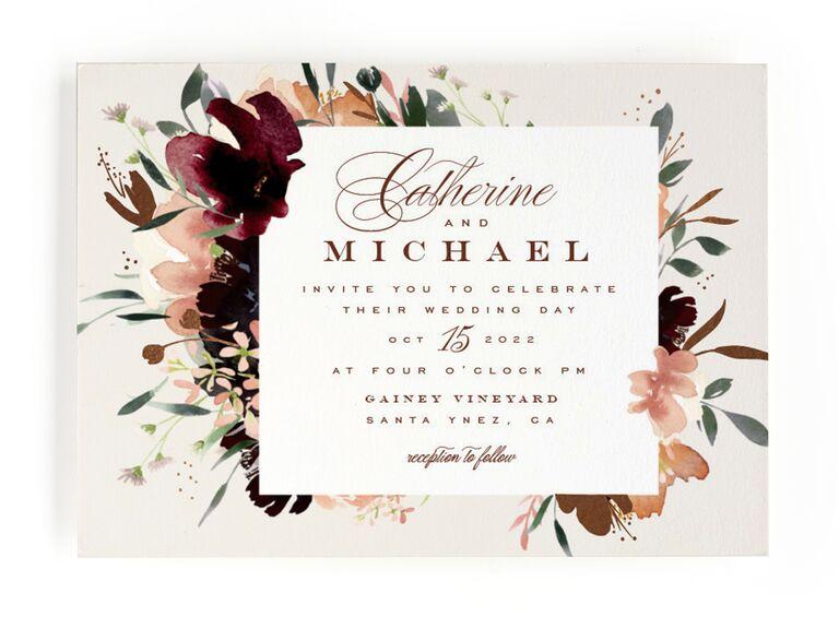 Floral fall wedding invitation