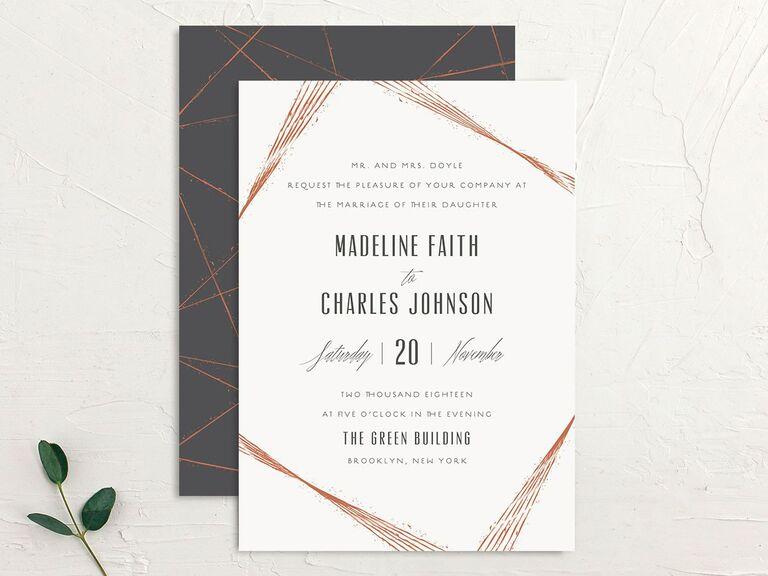 Industrial fall wedding invitation
