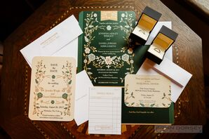 Emerald Green Invitations with Flower Detailing