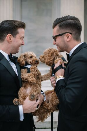Couple Holding Dogs Dressed in Mini Tuxedos