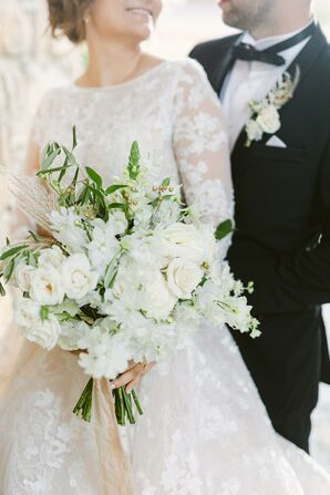 White Wedding Bouquet With Olive Branches