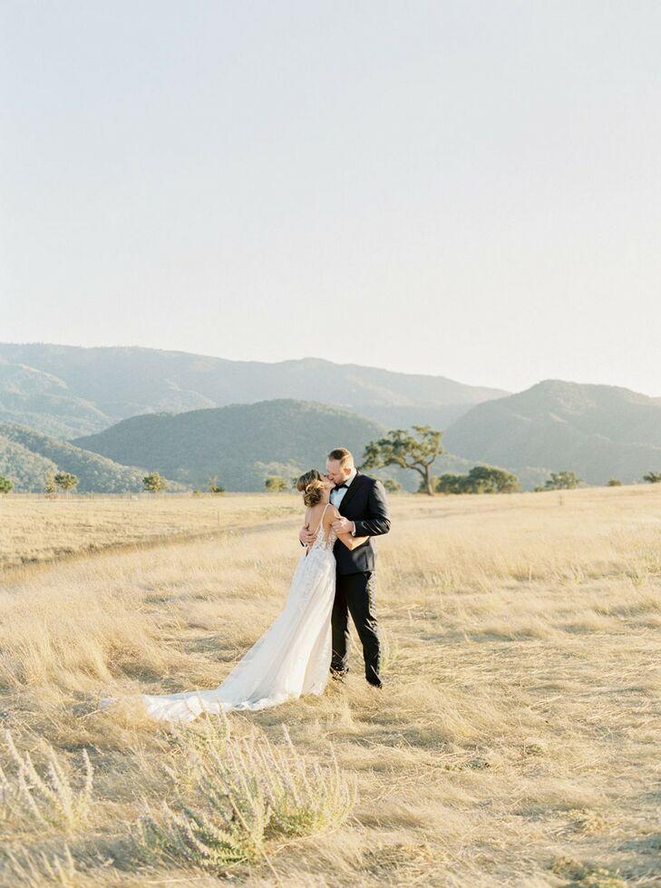 "Erin DiAngelis and Andrey Antonov chose Kestrel Park in Santa Ynez, California, for their wedding because the venue is ""like an English garden fairyta"