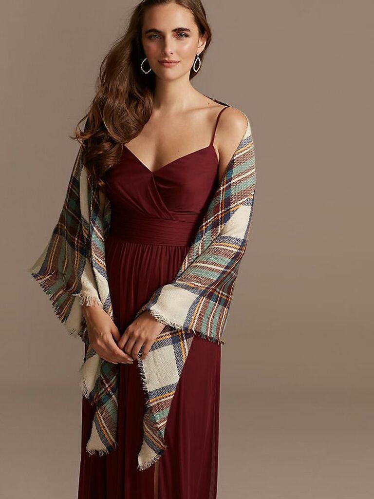 plaid bridesmaid blanket shawl