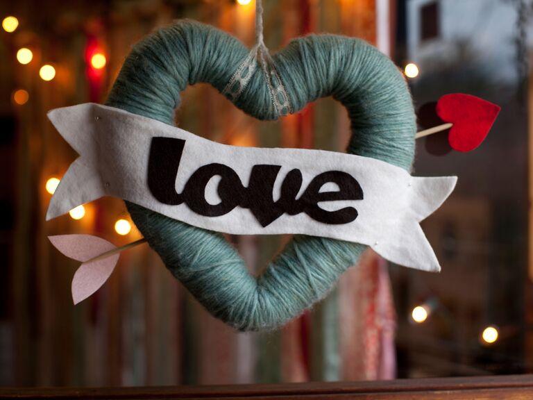 Blue yarn Valentine's Day heart